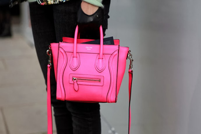 Celine-Neon-Pink-Nano-Luggage-Bag-Streetstyle-2